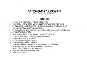 Az FME 2020 vi kzgylse Helsinki Balassi intzet