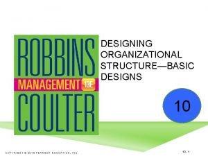 DESIGNING ORGANIZATIONAL STRUCTUREBASIC DESIGNS 10 COPYRIGHT 2016 PEARSON