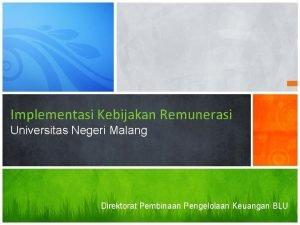 Implementasi Kebijakan Remunerasi Universitas Negeri Malang Direktorat Pembinaan