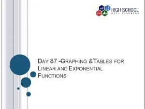 DAY 87 GRAPHING TABLES FOR LINEAR AND EXPONENTIAL