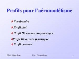 Profils pour laromodlisme Vocabulaire Profil plat Profil Biconvexe