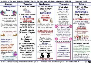 Activities at Old Moat Surestart Childrens Centre Old