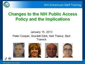NIH Extramural Staff Training Changes to the NIH