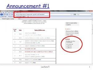 Announcement 1 Lecture 9 1 Announcement 2 q
