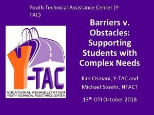 Youth Technical Assistance Center Y Youth Technical Assistance