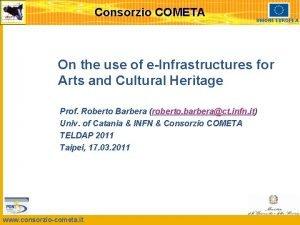 Consorzio COMETA UNIONE EUROPEA On the use of