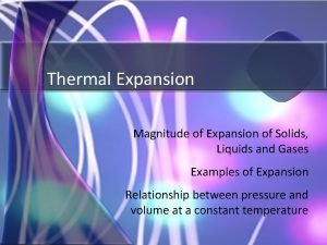 Thermal Expansion Magnitude of Expansion of Solids Liquids