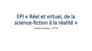 EPI Rel et virtuel de la sciencefiction la