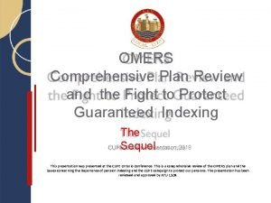 OMERS Comprehensive Plan Review and the Fight to