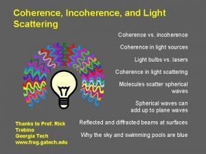 Coherence Incoherence and Light Scattering Coherence vs incoherence