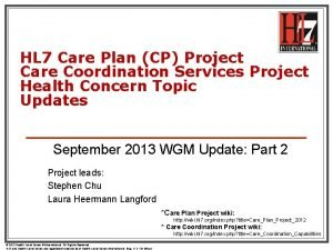 HL 7 Care Plan CP Project Care Coordination