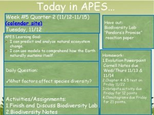 Today in APES Week 5 Quarter 2 1112