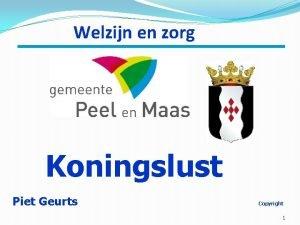 Welzijn en zorg Koningslust Piet Geurts Copyright 1