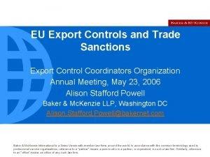 EU Export Controls and Trade Sanctions Export Control