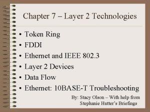 Chapter 7 Layer 2 Technologies Token Ring FDDI
