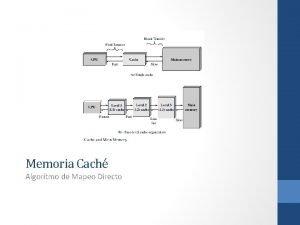 Memoria Cach Algortmo de Mapeo Directo Memoria Cach