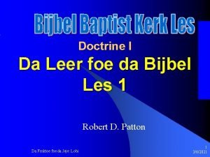 Doctrine I Da Leer foe da Bijbel Les