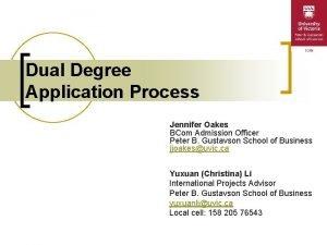 Dual Degree Application Process Jennifer Oakes BCom Admission