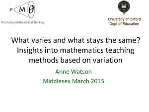 Promoting Mathematical Thinking University of Oxford Dept of
