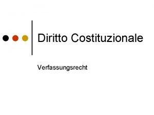 Diritto Costituzionale Verfassungsrecht Diritto costituzionale Disciplina che studia