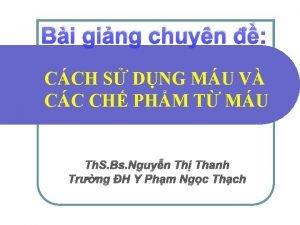 Bi ging chuyn CCH S DNG MU V