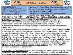 Athletics Lesson 1 Learning Objectives Challenge 1 Can