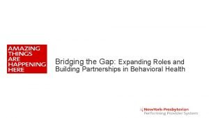 Bridging the Gap Expanding Roles and Building Partnerships
