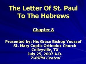 The Letter Of St Paul To The Hebrews