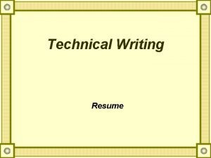 Technical Writing Resume What is Resume A resume