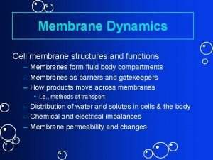 Membrane Dynamics Cell membrane structures and functions Membranes