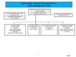 Public Health Transition Structure 201213 Senior Management Team
