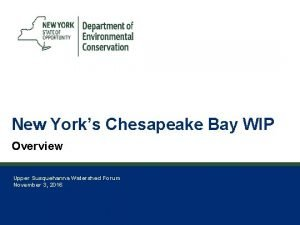 1 New Yorks Chesapeake Bay WIP Overview Upper