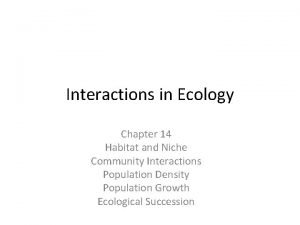 Interactions in Ecology Chapter 14 Habitat and Niche