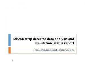 Silicon strip detector data analysis and simulation status
