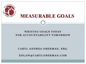 MEASURABLE GOALS WRITING GOALS TODAY FOR ACCOUNTABILITY TOMORROW