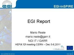 EGIIn SPIRE EGI Report Mario Reale mario realegarr