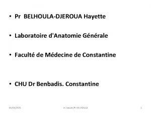 Pr BELHOULADJEROUA Hayette Laboratoire dAnatomie Gnrale Facult de