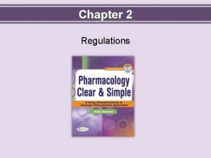 Chapter 2 Regulations Objectives Define key terms Describe