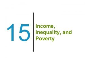 15 Income Inequality and Poverty Previously The demand