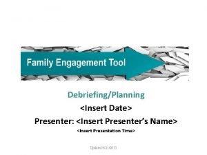 DebriefingPlanning Insert Date Presenter Insert Presenters Name Insert