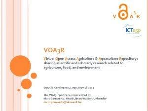 VOA 3 R Virtual Open Access Agriculture Aquaculture