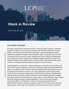 Week in Review September 28 2020 LAST WEEK