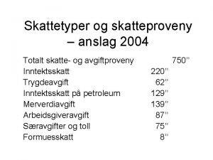 Skattetyper og skatteproveny anslag 2004 Totalt skatte og