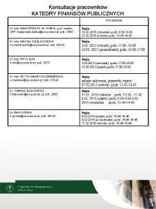 Konsultacje pracownikw KATEDRY FINANSW PUBLICZNYCH Konsultacje Dr hab