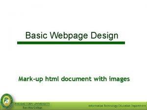 Basic Webpage Design Markup html document with images