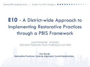 National PBIS Leadership Forum October 3 4 2019