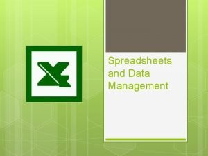 MICROSOFT EXCEL Spreadsheets and Data Management Spreadsheets Allow