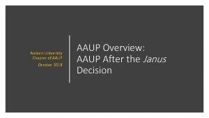Auburn University Chapter of AAUP October 2019 AAUP