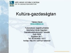 Kultragazdasgtan Takcs Dvid takacsdsze hu Tudomnyos segdmunkatrs Szchenyi