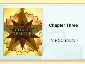 Chapter Three The Constitution The Constitution Is just